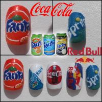 Soft drinks nails by Ninails