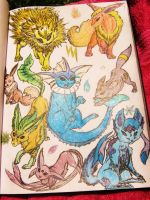Eevee Evolutions - Colored by CheshireDivine