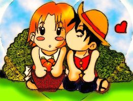 One Piece, Nami and Luffy by KawaiiDarkAngel