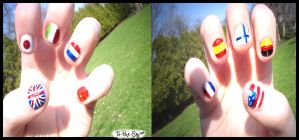 ::Hetalia Nails:: by To-The-Sky