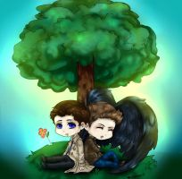 Cas and Dean Under A Tree by LALASOSU2