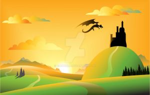Dragon and castle landscape by grebenru