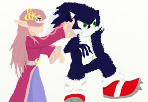 Merlina and Sonic the Werehog by iammemyself