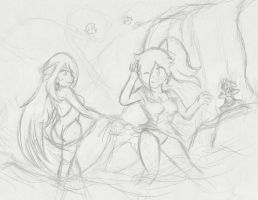 Rosalina and Cynthia: Summer Begins :Sketch: by Xero-J