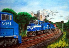 Conrail watercolor by DragonWolfACe