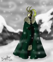 Loki in the Snow by cardinalbiggles