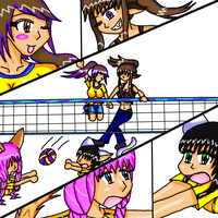 volleyball with friend and OCs by MegnRox15