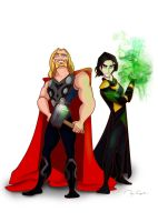 Disney Loki And Thor by PixiNora