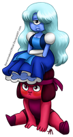 Sapphire On Ruby's Head by BananimationOfficial