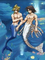 Leon and Cloud in Atlantica by shirou-oh-sakura