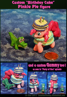 Birthday Cake Pinkie Pie with Gummy custom figure by Bearded-Brony