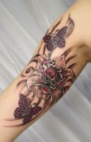 Flower Girly Skulls Butterfly by 2Face-Tattoo
