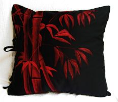 Red Bamboo on Black Cotton by derilyn