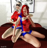 Black Cat and MJ Spidy PJs by hotrod5