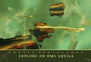 Exotic Spacelanes Explore On HMS Aquila by TK769
