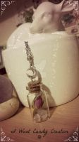 HANDMADE - Bottle with Rose and Quartz by IWantCandyCreation