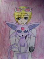 2p! Romano and Espeon by AlternianButterfly