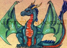 Sitting Green Dragon ACEO by The-GoblinQueen