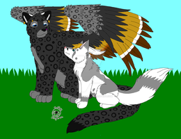 Catwing-and-Rahk'ul-Feral form by Catbirdwoman
