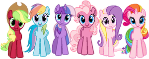 Mane 6 in G3 colors by ClassicsAreDEAD