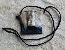 Coyote and Black Leather Pouch by lupagreenwolf
