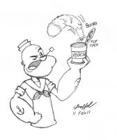 Popeye Opening a Can of by Cartoon-Eric