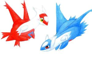 Chibi Latios and Latias by Avadras