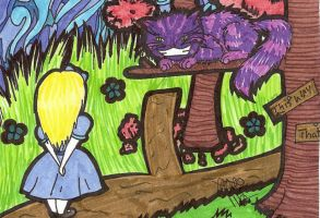 Alice Meets the Cheshire Cat by Blkbltprincess