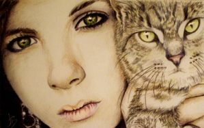 girl and cat by JuliaBadeeva