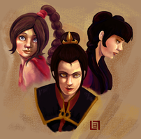 Fire Nation Girls by lalitterboxes