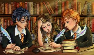 The Golden Trio in the Library by AMFrederick