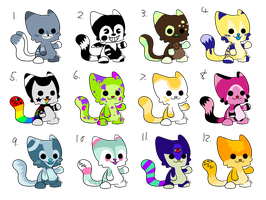 Colourful Kitty Adopts (CLOSED) by Neon-Spots-Adopts