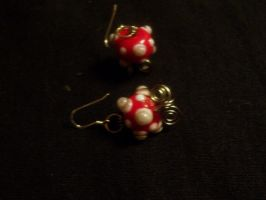 Red Baubly Earrings by RandomActofMuse2