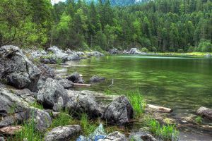 beside the Eibsee by Springstein