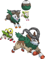 672 and 673 - Skiddo Evolutionary Family by Tails19950