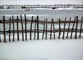 Fence around the frozen pond by Limited-Vision-Stock