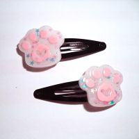Starry candy floss hair clips by Lutrasaura