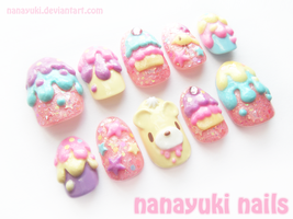 Gloomy Bear Sweet Attack nails 2 by Nanayuki