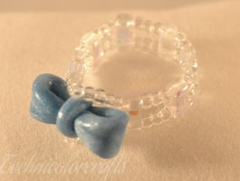 Beaded Translucent Ring with Blue Ribbon by technicolorcrafts