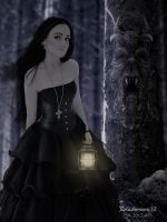 In dark forest by Blackmoons32