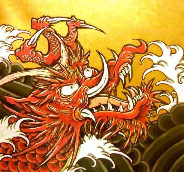 Red Dragon in Waves by sonnywong001