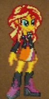 Sunset Shimmer Equestria Girls perler craft by Pika-Robo