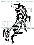 Dancing Wolf And Symbols Tribal Design by WildSpiritWolf