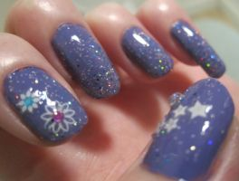 Purple glitter nails by soyoubeauty