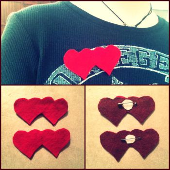 Double Heart Pin by Stitch-Savvy