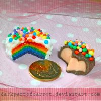 Polymer clay rainbow cake and chocolate by DarkPartOfCarrot