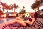 Sunset by the pool by Stephanie-van-Rijn