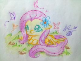 Fluttershy Chibi Color Practice.. ~ by chichicherry123