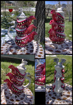 Stacked Monster Teapot by bezzalair