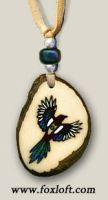 Magpie Tagua Totem Pendant by Foxfeather248
